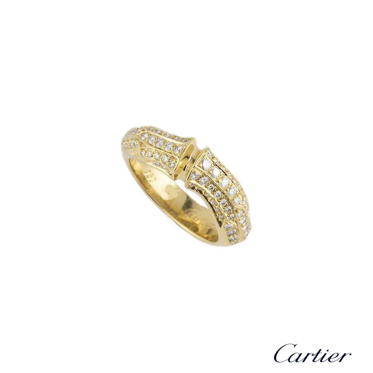 Cartier Yellow Gold Diamond Set Bamboo Ring
